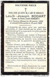 Louis Joseph Bodart memorial card