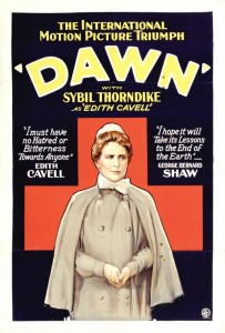 "1928 Movie poster for ""Dawn"" in which Ada Bodart played herself"