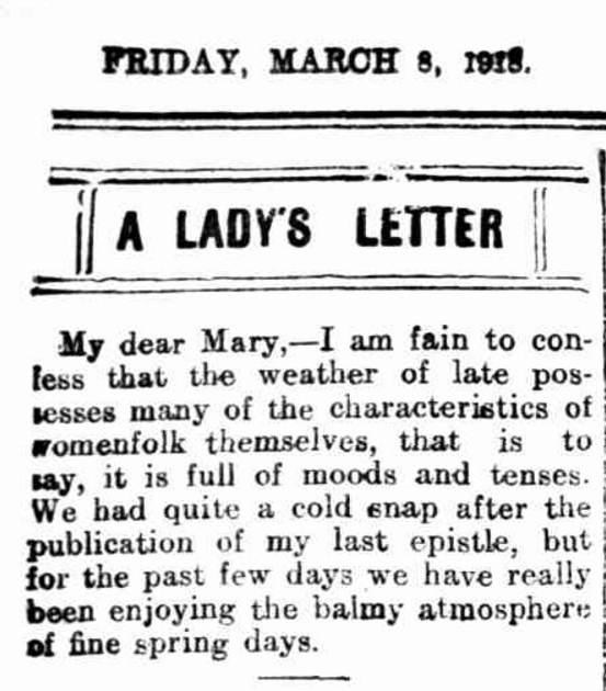 Lady's Letter