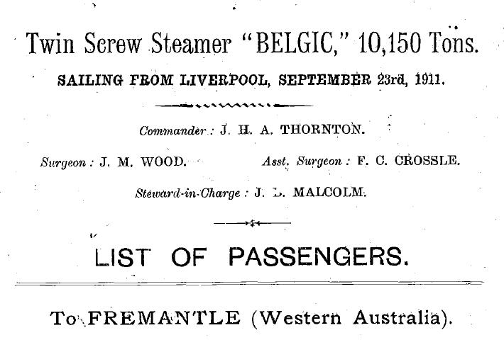 Belgic Passenger List Fremantle 1911