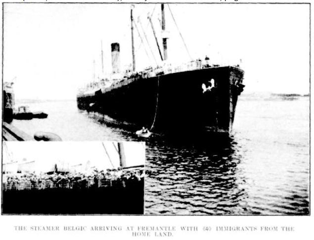 TSS Belgic berthing at Fremantle 1912 voyage
